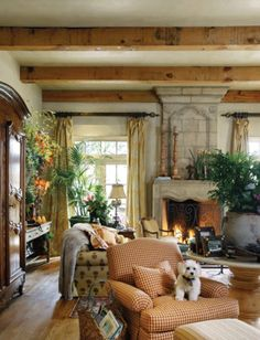 French Country Living Room  Ceiling Beams, Raw Wood, Rustic/old World,  Strong Colors.paint Color For Living Room? Part 97