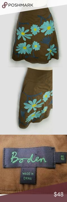 Boden skirt size 8 Brown Teal Embroidered  Flowers A-line cotton skirt, lined, hip pockets, zips on the side Boden Skirts A-Line or Full