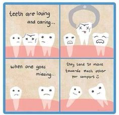 Did you know that teeth are actually loving and caring? When one goes missing, they move closer to fill that void. Keep your teeth happy & fill that gap with a dental implant. Call our office for more information! #Dental2000NJ