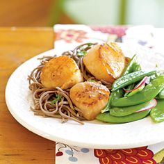Soy Citrus Scallops with Soba Noodles | CookingLight.com