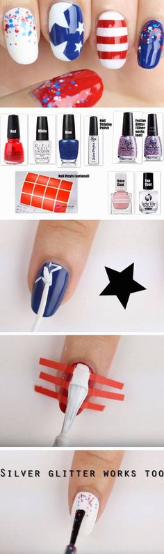 Festive Glitter + Stripes | 18 Fourth of July Nail Art Designs for Teens that scream independence day!