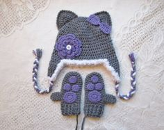 Grey and Lavender Kitty Cat Crochet Winter Hat and Mitten Set  - Photo Prop - Available in Baby to Toddler Size - Any Color Combination