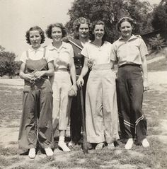 1930s women in wide leg pants and overalls