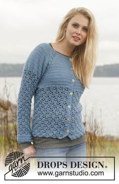 """Crochet DROPS jacket with raglan and lace pattern worked top down in """"BabyAlpaca Silk"""". Size: S - XXXL. ~ DROPS Design"""