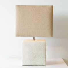 "West Elm ceramic cube table lamp $99-10 "" square X 21"" high"
