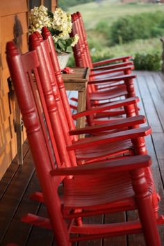 Red rocking chairs on a peaceful farmhouse porch Outdoor Spaces, Outdoor Chairs, Outdoor Living, Outdoor Decor, Adirondack Chairs, Red Rocking Chair, Maron, Red Rocker, Love Vintage