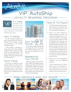Get rewarded! Members of our VIP loyalty program get the inside scoop on all promotions, news, events, etc., receive 25% off every AutoShip order, AND earn reward points toward FREE product.  http://virginbeauty.myalureve.com