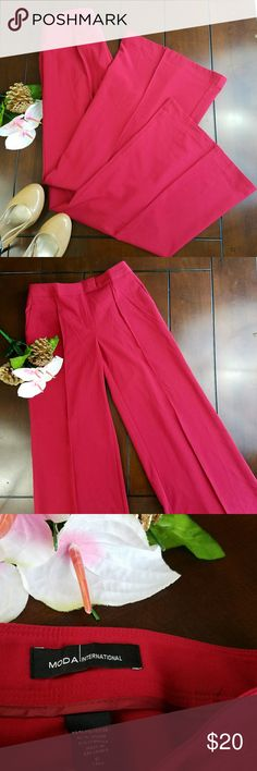 Wide Leg Red Dress Pants Size 6 TALL These sophisticated wide-leg red slacks by Moda International are available pre-loved in size 6 tall. No flaws, no holes no tears no stains.  Please review the pictures and measurements, and ask any questions needed before purchase.  Also check out my 3 for $15 deals in my closet! Happy poshing!💕 Moda International Pants Wide Leg