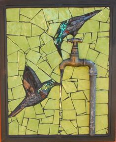 artafrica: Sarah Pryke I love the use of the old tap in this and the beautiful use of both bright & subtle colour!Clever use of found objects. Mosaic Tile Art, Mosaic Artwork, Mosaic Crafts, Mosaic Projects, Mosaic Glass, Stained Glass, Mosaic Ideas, Mosaic Mirrors, Mosaic Animals