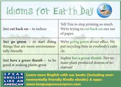 Happy #EarthDay! Here are some environmental idioms to celebrate. #ESL