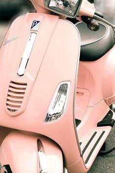 Pink Paris Vespa - Modern French Style -mid century modern decor - adventure travel pastel pink - for girls - vintage Motos Vespa, Vespa Scooters, Vespa Motorcycle, Fiat 500, Rosa Vespa, Vw Bus, Pink Vespa, Pink Moped, Vespa Girl