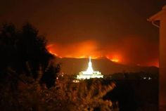 Wildfires behind Mt. Timponogas LDS Temple in Utah  2012