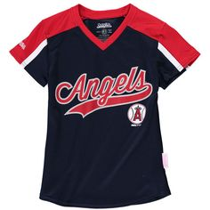 Los Angeles Angels of Anaheim Stitches Girls Youth V-Neck Jersey T-Shirt - Navy/Red Youth, V Neck, Navy, Fitness, Stitches, Sports, Mens Tops, T Shirt, Girls