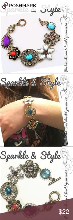✨Multicolored elegance✨ Must have this beautiful bracelet. Gold tone with colorful stones. ✨2 available ✨ Sparkle & Style Jewelry Bracelets