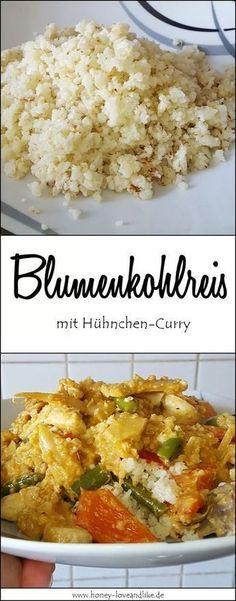 Wahnsinnig lecker! Ich zeige euch viele Ideen mit Blumenkohlreis Diet Menu, Grilling Recipes, Nom Nom, Curry, Food And Drink, Lunch, Vegan, Cooking, Healthy