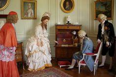 """Marie Antoinette wax figure at Château de Breteuil. La reine is being questioned over """"L'affaire du collier de la reine"""""""
