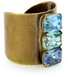 """""""Tropical"""" Chic Crystal Stacked Adjustable Gold-Tone Ring #unusualengagementrings"""