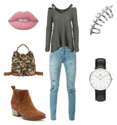 """""""Simple#4"""" by jaydenloveyourstyle04 ❤ liked on Polyvore featuring Yves Saint Laurent, Free People, Lucky Brand, Lime Crime and Daniel Wellington"""