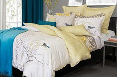 Escale's wink of whimsy and extensive hand detailing in silver, oat, and saffron will take your breath away. This embellished and reversible bedding will be the ultimate accolade for your bedroom!      100% Cotton sateen     220 Thread count     Print and embroidery #966355 $179.99 www.lambertpaint.com