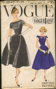 Vogue Special Design One Piece Dress. Fitted dress flares from the waist-line. Wide low neck-line with shaped neckband. Cut outs below neckband, optional. Short sleeves and sleeveless with or without tied bows. [insert your photos of this pattern made up] Vestidos Vintage, Vintage Dresses, Vintage Outfits, Retro Fashion, Vintage Fashion, Vintage Vogue Patterns, Patron Vintage, Fashion Cover, Vogue Covers