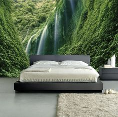 Beautiful wall mural - Amazing Green Waterfalls!    Our products combine the high-quality and photo quality print for breathtakingly realistic