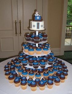 Bar Mitzvah cupcake tree. I like the idea.