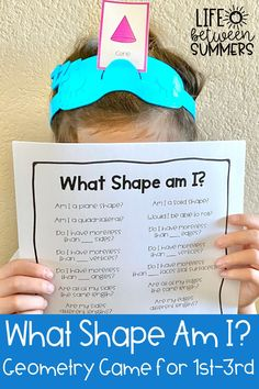 """An engaging guessing game for students to practice identifying 2D and 3D shapes and their attributes. They can get practice with identifying a variety of plane and solid shapes and how many sides, vertices, faces, and edges those shapes have using this """"What shape am I?"""" game. This math activity can be done in partners, with a small group, or the whole class during math workshop, math centers or guided math time. Students learn all about shapes with this hands-on math game."""
