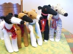 One of my favorites! PIXIE HOUNDS Greyhound Dog Crochet Dolls by Aerie Designs