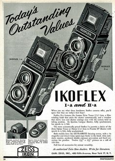 Zeiss Ikon Ikoflex Ad – Electronic is Charge Antique Cameras, Old Cameras, Vintage Cameras, History Of Photography, Photography Camera, Vintage Photography, Retro Advertising, Vintage Advertisements, Vintage Ads