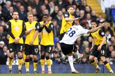 An incredible strike from Kyle Walker of Spurs as he scores their second goal from a freekick during the Barclays Premier League match between Tottenham Hotspur and Blackburn Rovers