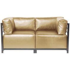 Howard Elliott Shimmer Gold Axis 2pc Sectional - Titanium Frame K922T-880