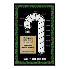Shop Classy Candy Cane Thermometer Poster created by FundraisingAndGoals. Personalize it with photos & text or purchase as is! Christmas Wall Art, Christmas Photo Cards, Christmas Posters, Goal Thermometer, L Names, Goal Charts, Personalized Christmas Gifts, Custom Posters