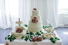 Pretty wedding cake with rose detail | onefabday.com