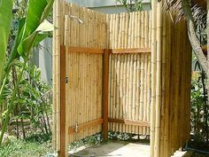 Outdoor shower with bamboo Outdoor shower with bamboo