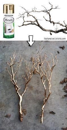 # 10. Pulverizar las ramas de pintura para un centro de mesa o decoración para…