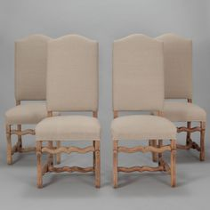 "Set of Eight Bleached Os De Mouton Chairs  --  Circa 1920s set of eight Os De Mouton side chairs with bleached oak frames and new, natural color linen upholstery. Seats are 19"" high and 16.5"" deep. Sold and priced as a set.  --   Item:  7071  --  Retail Price:   $5995"