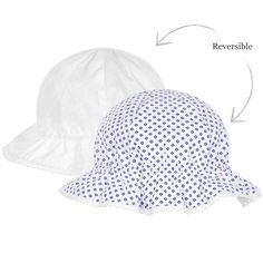 Baby girls woven cotton sunhat by Mayoral Newborn. Reversible, it is white on one side, with a navy blue squares print on the other. It has a frilled brim, gently gathered with elastic, and an embroidered edge.