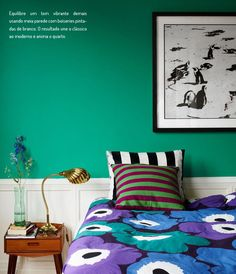 Emerald/teal and cobalt - Moderation be Damned: 12 Times Crazy Colors Looked Crazy Good Bedroom Green, Bedroom Colors, Bedroom Decor, Master Bedroom, Colourful Bedroom, Bedroom Ideas, Bedroom Turquoise, Design Bedroom, White Bedroom