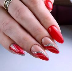 Stunning Red Almond Nails to Inspire Your Next Manicure - isishweshwe Almond Nails Designs, Red Nail Designs, Acrylic Nail Designs, Purple Nails, Red Nails, Hair And Nails, Fall Nails, Winter Nails, Summer Nails