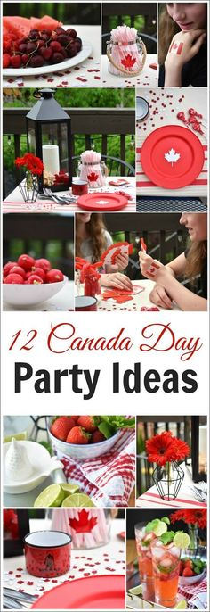 12 Canada Day Party easy decor and food ideas. Canadian Party, Canadian Food, Canadian Dishes, Canadian Recipes, Bbq Party, Party Snacks, Canada Day Crafts, Canada Day Party, Visit Canada