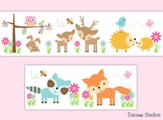 WOODLAND ANIMALS DECALS Baby Girl Wallpaper Border Wall Art Stickers Decor