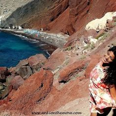 Backpacking Greece:Santorini Red Beach Adventure Style, Adventure Travel, Red Beach, Santorini Greece, Backpacking, Places To Visit, In This Moment, Water, Outdoor