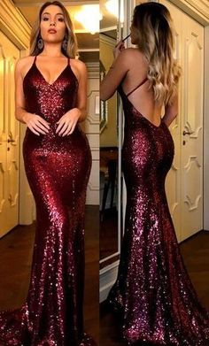 Charming Mermaid Burgundy Sequin Lace Backless Deep V-neck Prom Dress MPD10185