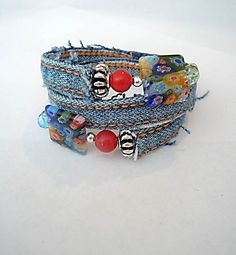 Upcycled Denim Wrap Memory Wire Bracelet with by ExcuseMeDesigns
