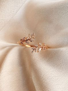 Victoria Stone Encrusted Leaf Ring Product Details + Care – Gold Plated Over Brass – Brass: Copper + Zinc Alloy – Wipe Clean – Imported Dimensions – A… - Sites Stylish Jewelry, Simple Jewelry, Cute Jewelry, Bridal Jewelry, Jewelry Accessories, Jewelry Design, Jewelry Ideas, Jewelry Box, Jewellery Holder
