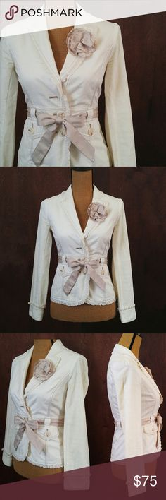 White House Black Market Cotton Blazer Jacket Super cute jacket by WHBM with lots of beautiful details! 100% cotton, the flower brooch is detachable. Size 0. Like-new condition.  Measurements available upon request. White House Black Market Jackets & Coats