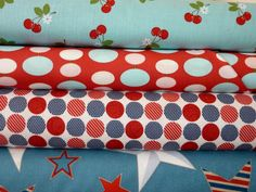 red and blue fabric bundle by bumbletees on Etsy, $20.00
