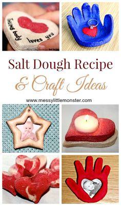 How to make salt dough - Easy salt dough recipe and craft ideas How to make salt dough recipe. Simple printable recipe and instructions. Lots of salt dough craft ideas for kids. Kids Crafts, Crafts For Kids To Make, Christmas Crafts For Kids, Toddler Crafts, Clay Crafts, Holiday Crafts, Arts And Crafts, Crafts Cheap, Felt Christmas