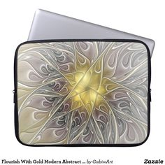Flourish With Gold Modern Abstract Fractal Flower Laptop Sleeve