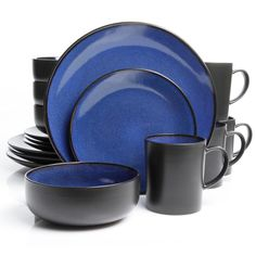 Blue Dishes! Soho Lounge Square 16-Piece Dinnerware Set, Blue ...